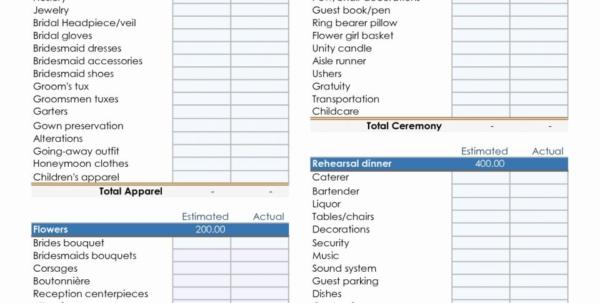 Example Wedding Budget Spreadsheet Regarding Wedding Budget Excel Spreadsheet Examples File Destination Luxury
