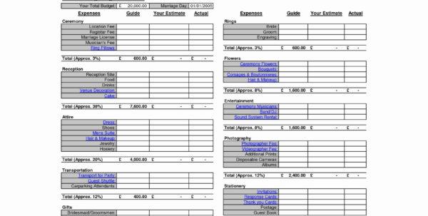 Example Wedding Budget Spreadsheet Throughout Destination Wedding Budget Spreadsheet Unique Best Wedding Bud