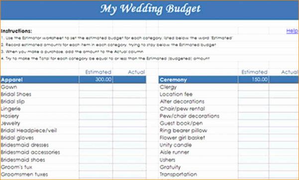 Example Wedding Budget Spreadsheet Throughout Wedding Budget Worksheet Template Planner Example Of Spreadsheet