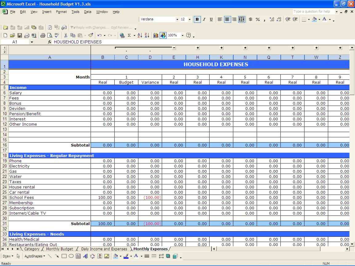 Examples Of Household Budget Spreadsheet Pertaining To Example Of Spreadsheet For Household Budget Excel Examples Templates