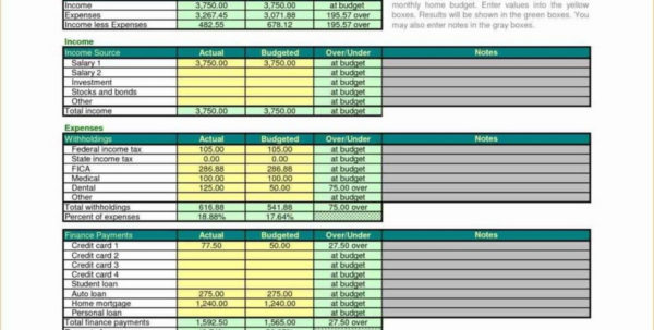 Examples Of Household Budget Spreadsheet With Regard To Yearly Monthly Personal Budget Household Example Of Spreadsheet