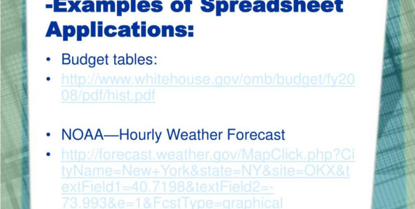 Examples Of Spreadsheet Programs Within Ppt  What's A Spreadsheet For?examples Of Spreadsheet