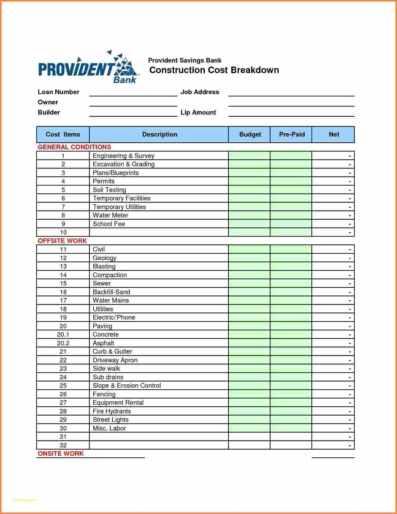 Excavation Estimating Spreadsheet For New Home Construction Cost Breakdown Spreadsheet  Awal Mula