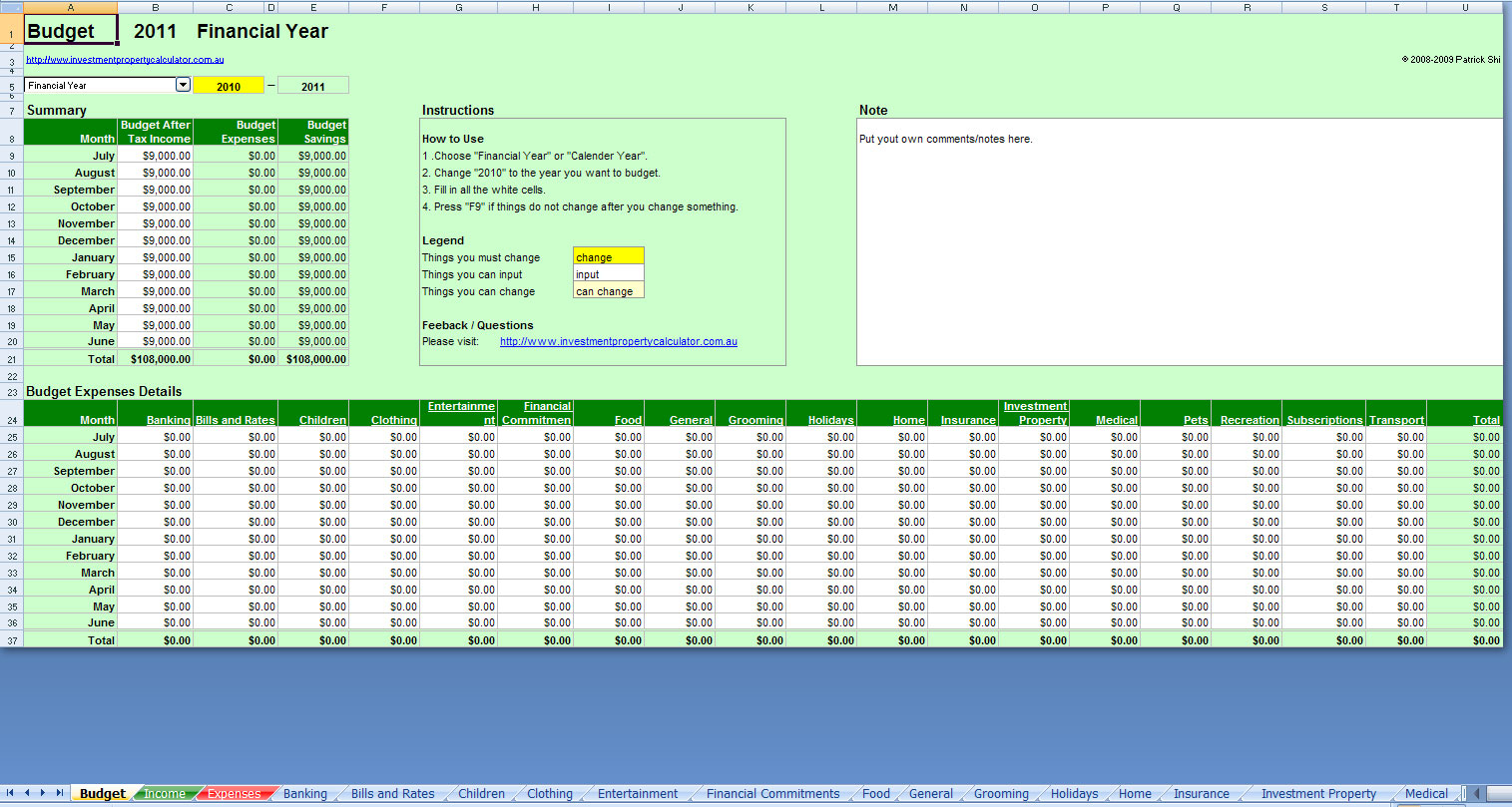 Excel Budget And Expense Spreadsheet Within Free Comprehensive Budget Planner Spreadsheet Excel