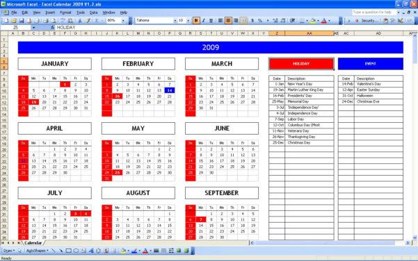 Excel Calendar Spreadsheet Intended For Top 5 Excel Yearly Calendar – Excel Spreadsheet
