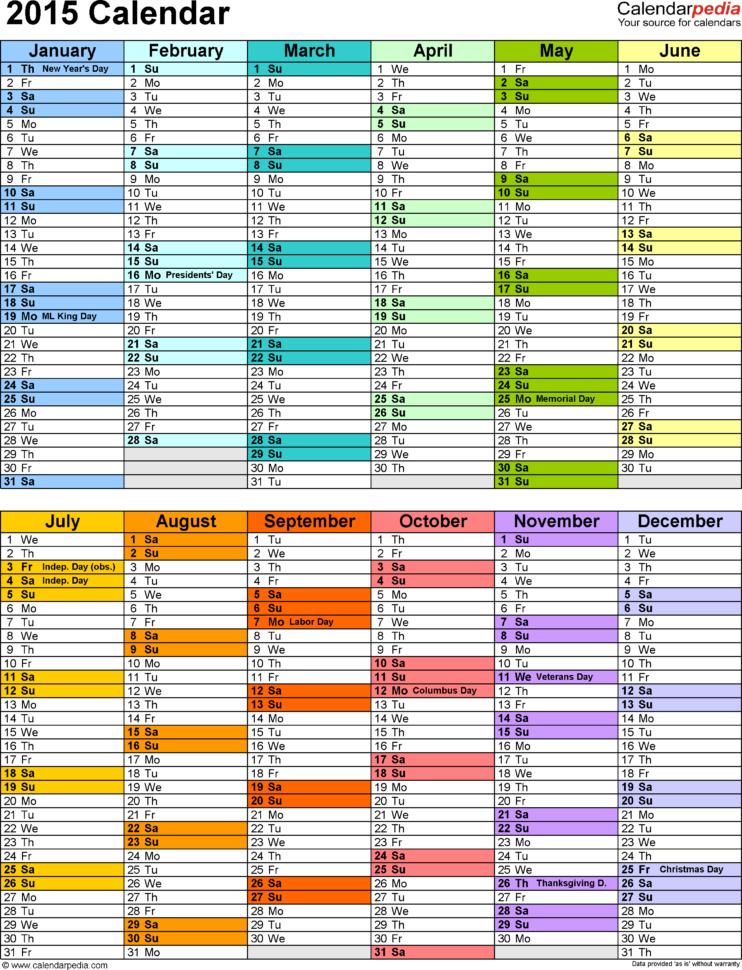 Excel Calendar Spreadsheet Throughout 2015 Calendar Excel  Download 16 Free Printable Templates .xlsx