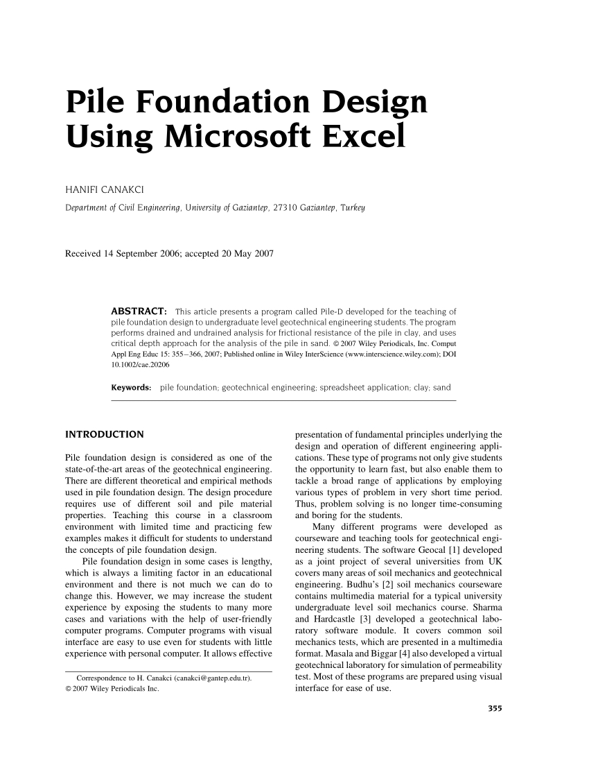 Excel Engineering Spreadsheets Pertaining To Pdf Pile Foundation Design Using Microsoft Excel