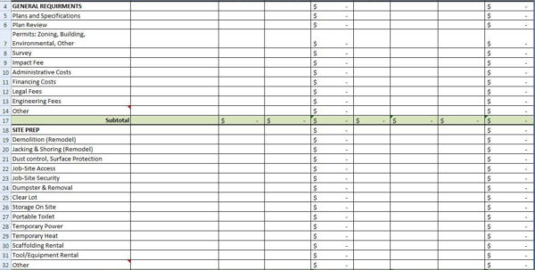 Excel Estimating Spreadsheet Templates For Excel Templates Construction Estimating Free And Building