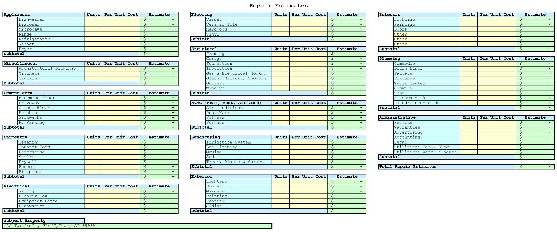 Excel Estimating Spreadsheet Templates Regarding Free Building Estimate Format In Excel Estimating Spreadsheet