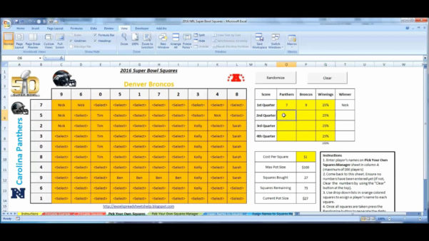 Excel Football Spreadsheet Throughout Football Squares Template Excel  Glendale Community Document Template