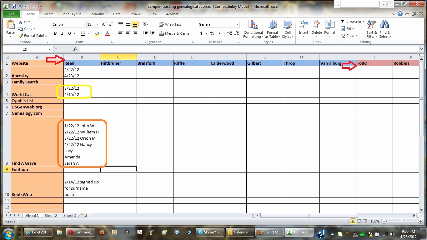 Excel Genealogy Spreadsheet Within Theomega.ca – Page 22 Of 29 – Just Another Wordpress Site