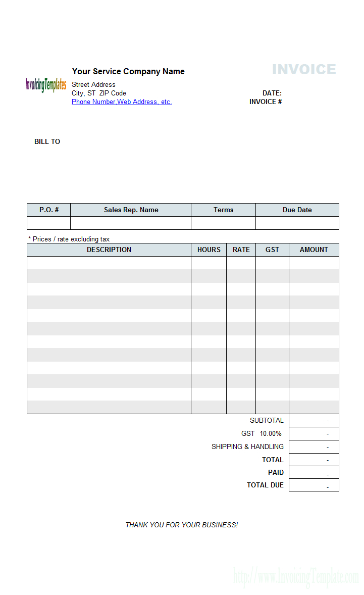 Excel Invoice Spreadsheet Within Contractor Invoice Templates Free  20 Results Found