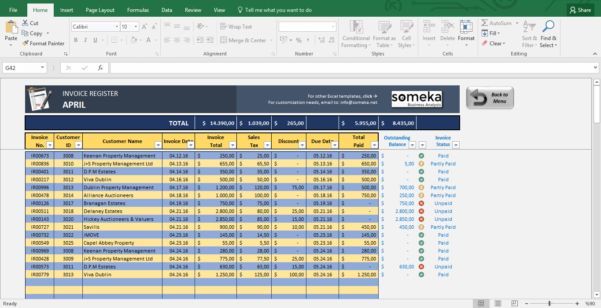 Excel Invoice Spreadsheet Within Invoice Tracker  Free Excel Template For Small Business
