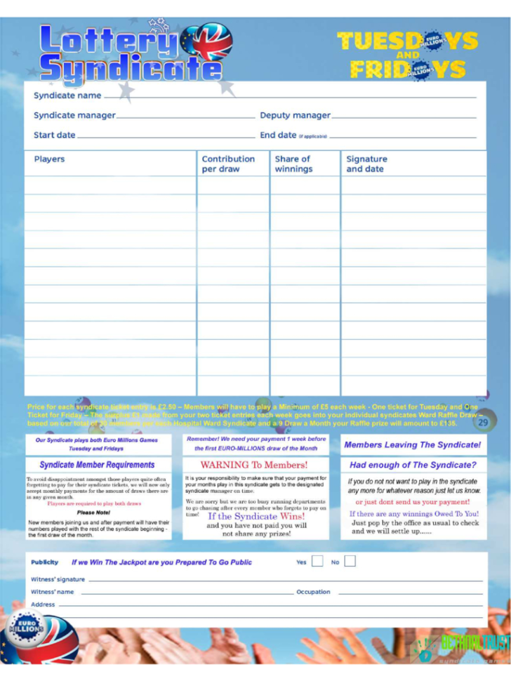 Excel Lottery Spreadsheet Templates Throughout Lottery Syndicate Agreement Form  6 Free Templates In Pdf, Word