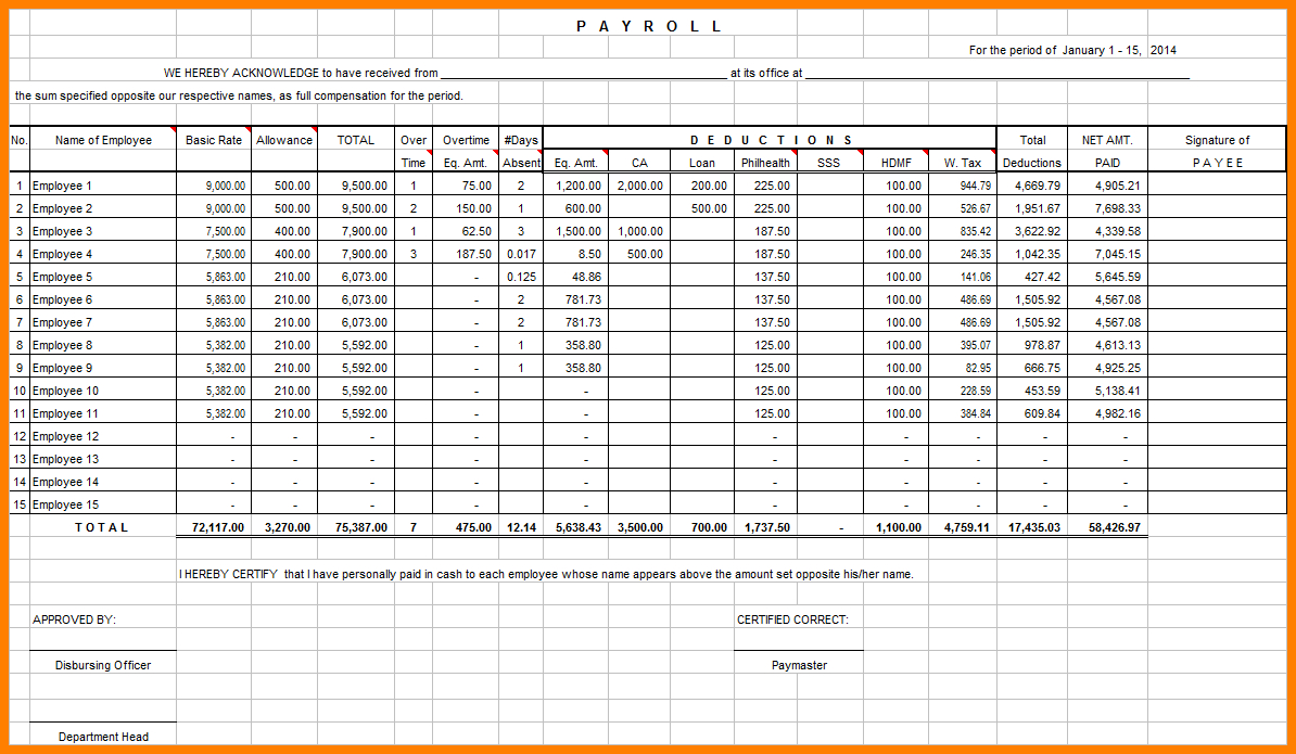 Excel Payroll Spreadsheet Download Inside Free Excel Payroll Templates Sheet Format Download Spreadsheets