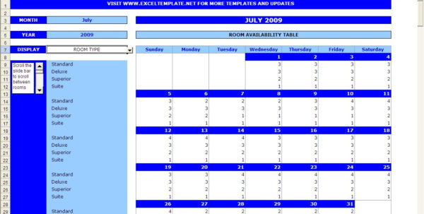 Excel Room Booking Spreadsheet For Booking Calendar  Excel Templates
