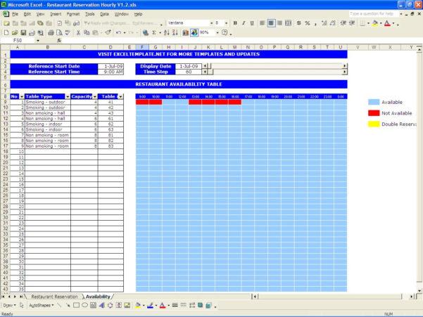 Excel Room Booking Spreadsheet Inside Restaurant Reservations  Excel Templates