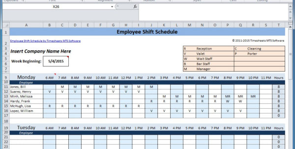 Excel Rota Spreadsheet For Free Employee And Shift Schedule Templates