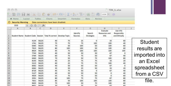 Excel Spreadsheet Assessment In Assessing Information Literacy Skills For Targeted Instruction  Ppt