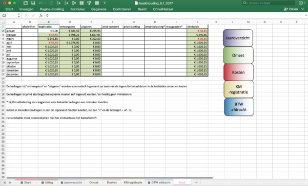 Excel Spreadsheet Boekhouden For Boekhouden In Excel 2017 – Level 8