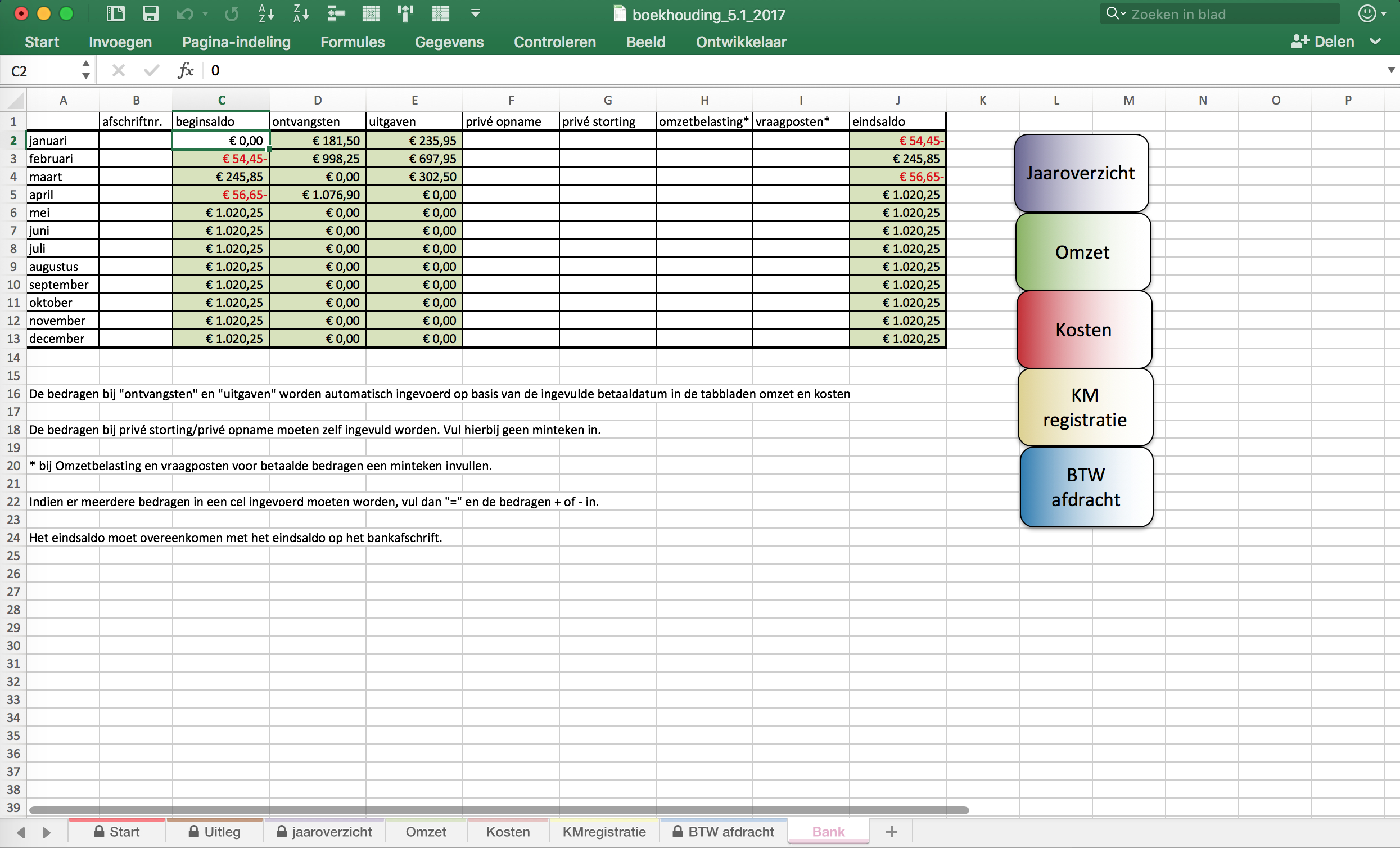 Excel Spreadsheet Boekhouden For Boekhouden In Excel 2017 – Level 8