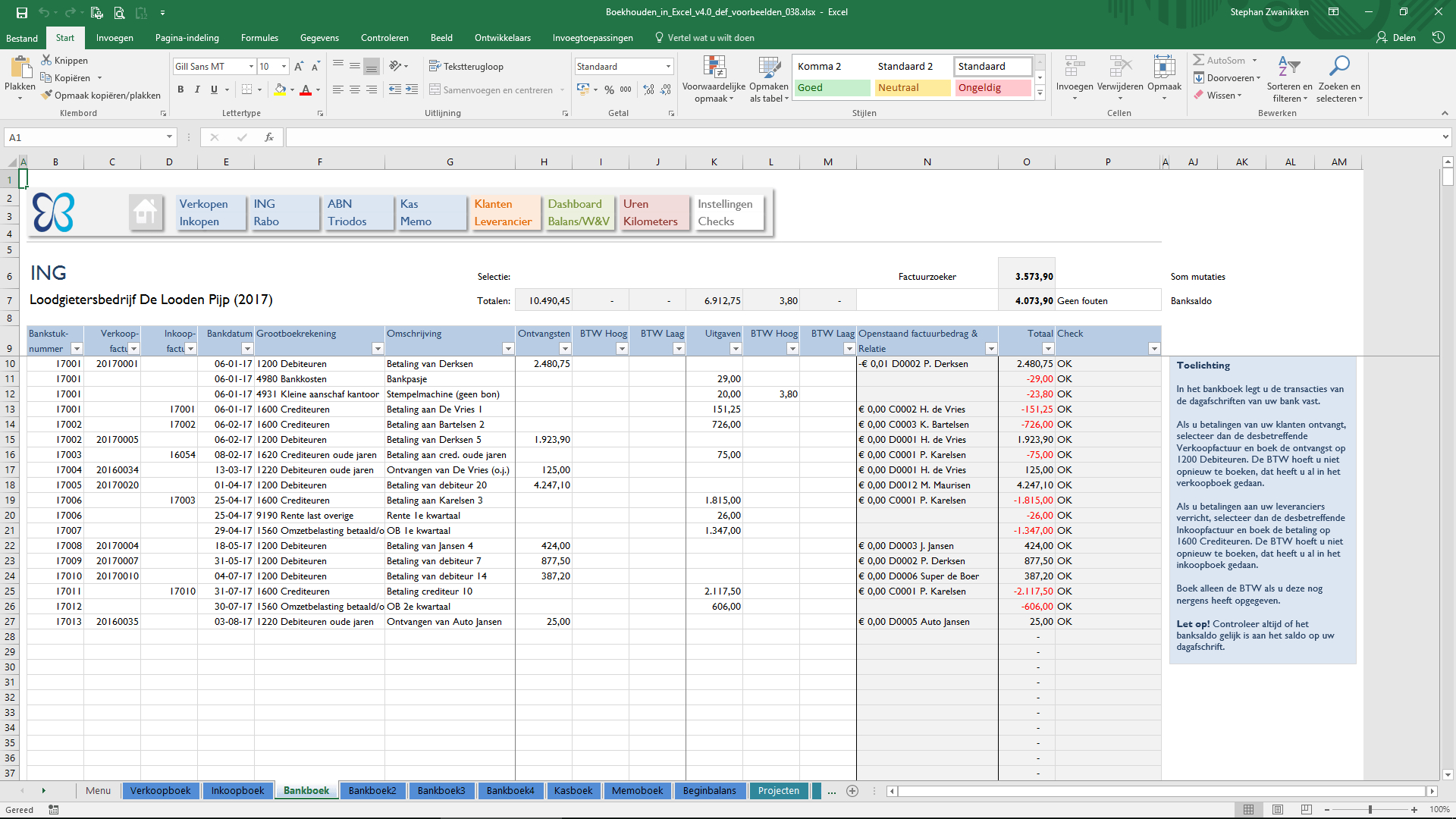 Excel Spreadsheet Boekhouden With Bank  Boekhouden In Excel