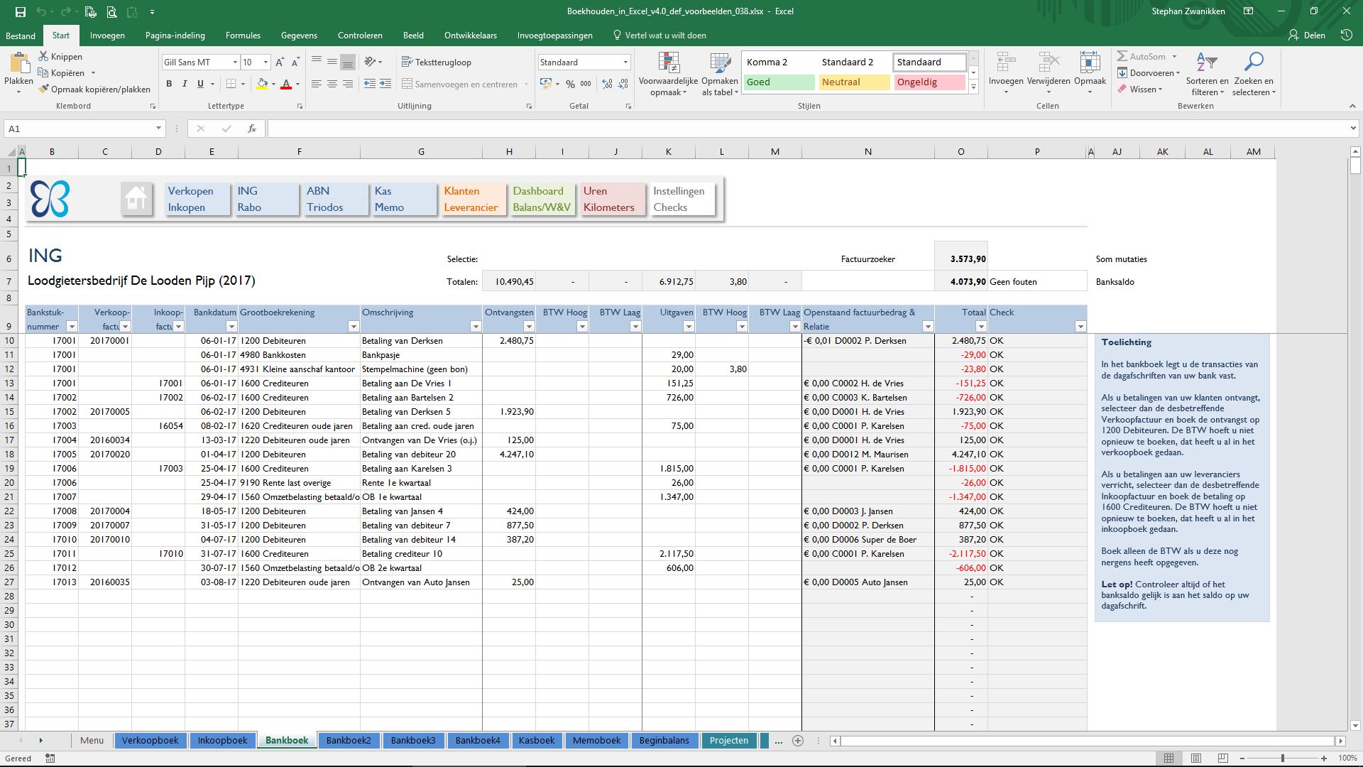 Excel Spreadsheet Boekhouden With Bank  Boekhouden In Excel