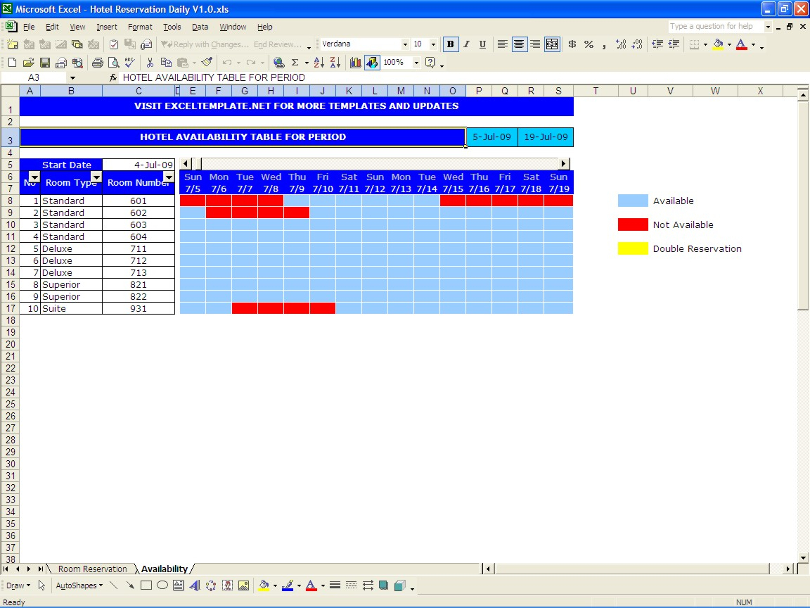Excel Spreadsheet Booking System Pertaining To Hotel Reservations  Excel Templates