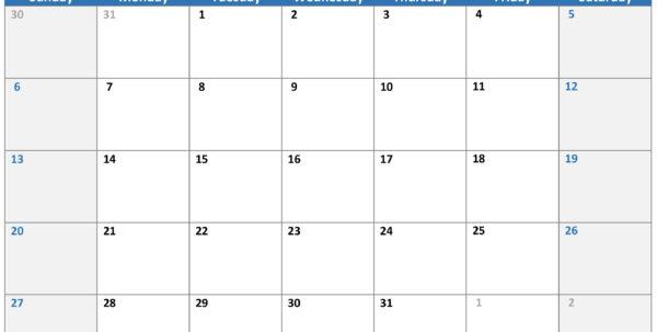 Excel Spreadsheet Calendar Template For Calendars  Office