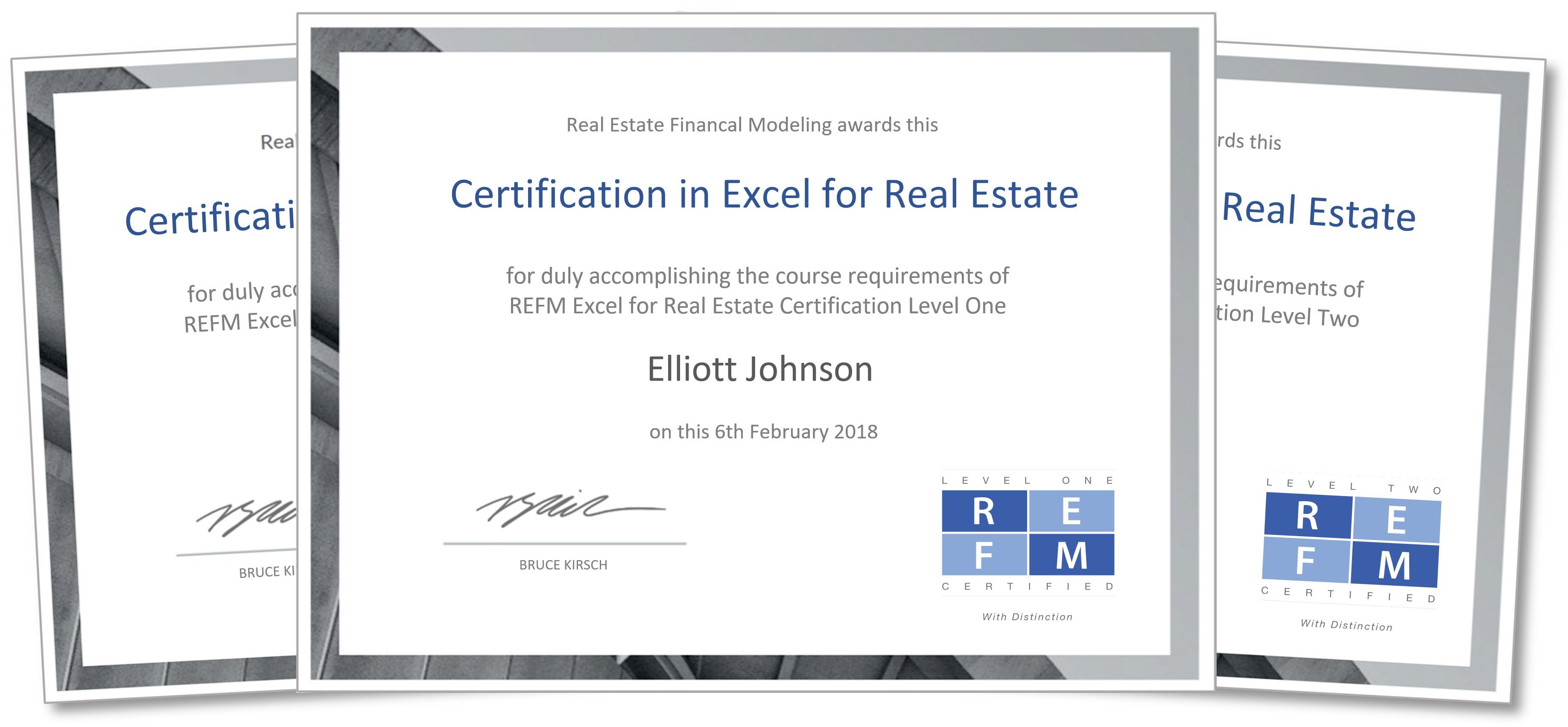 Excel Spreadsheet Certification For Refm Certification Program In Excel For Real Estate  Real Estate