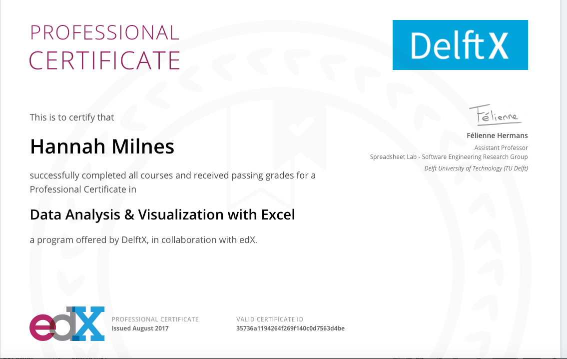 Excel Spreadsheet Certification In Professional Certificate: Data Analysis  Visualization With Excel