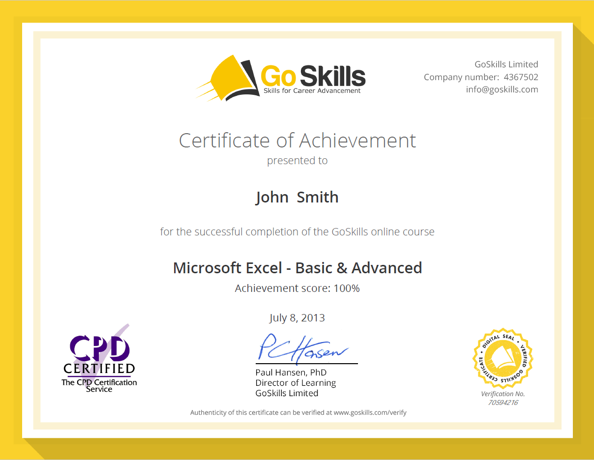 Excel Spreadsheet Certification Pertaining To Microsoft Excel Certification  Goskills