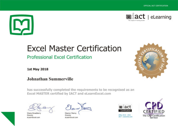 Excel Spreadsheet Certification With Excel Certification  Get Excel Certified With Elearnexcel