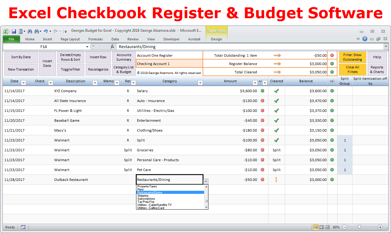 Excel Spreadsheet Check Register In Excel Budget Spreadsheet  Personal Budgeting Software  Checkbook