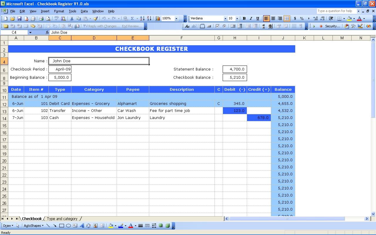 Excel Spreadsheet Check Register Regarding Checkbook Register  Excel Templates