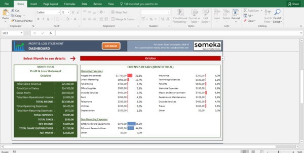 Excel Spreadsheet Dashboard Throughout Profit And Loss Statement Template  Free Excel Spreadsheet