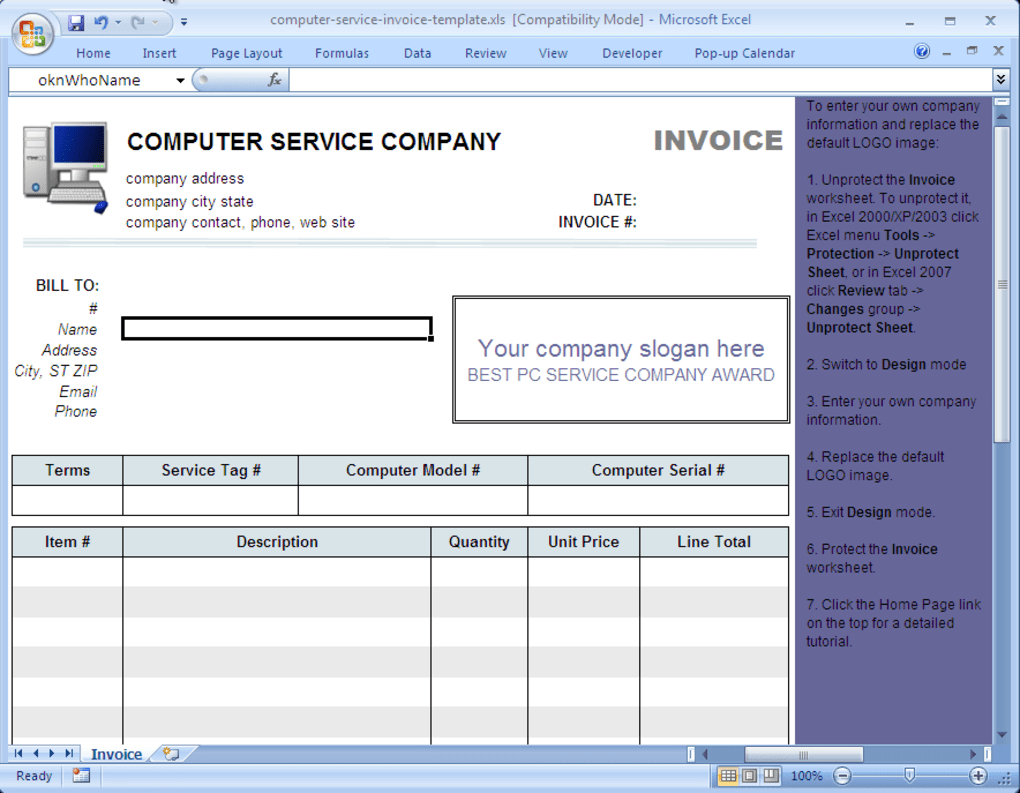 Excel Spreadsheet Design Service In Repair Bill Template Computer Service Invoice Download Spreadsheet