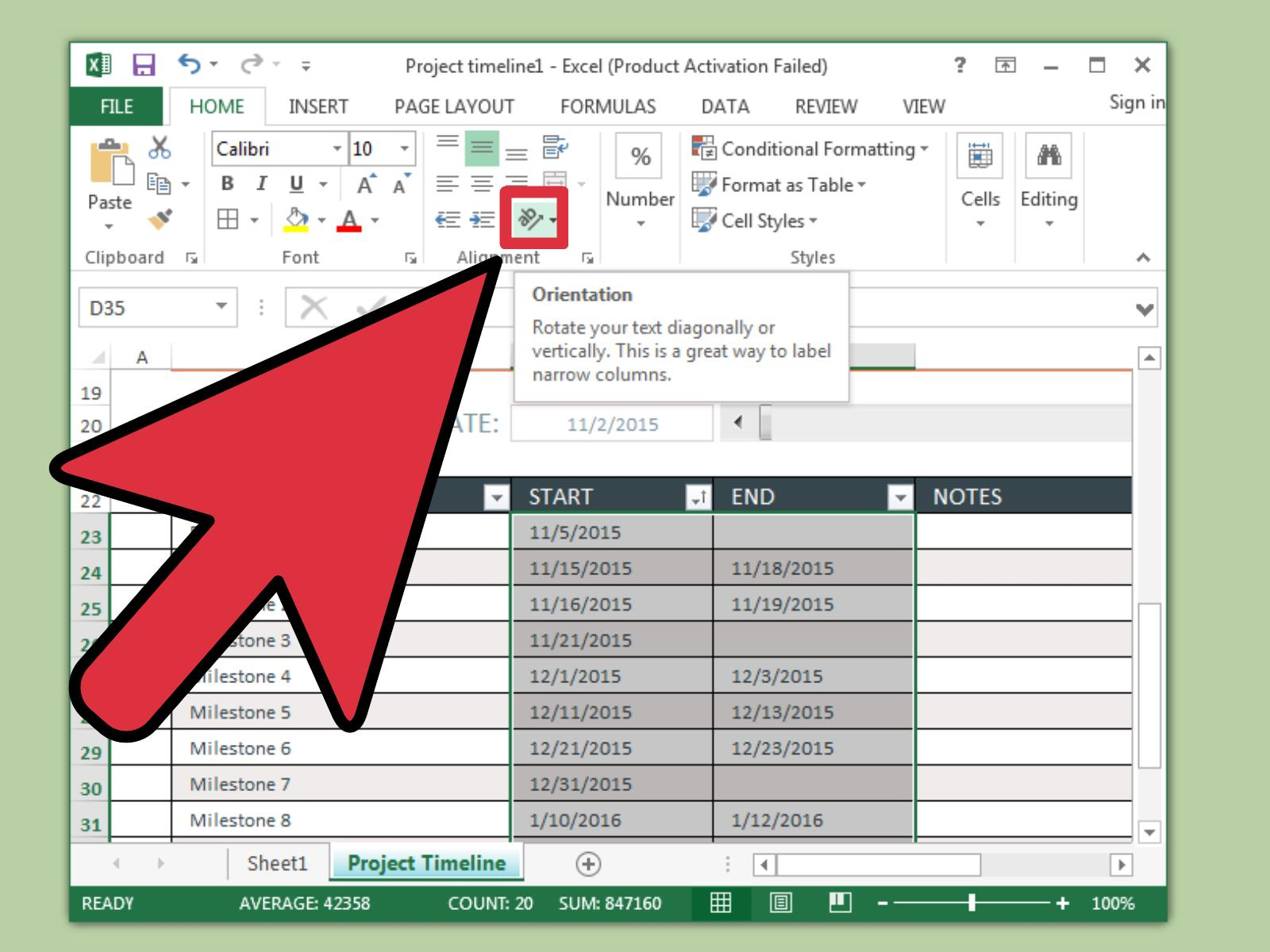 Excel Spreadsheet Erstellen With Regard To 3 Ways To Create A Timeline In Excel  Wikihow