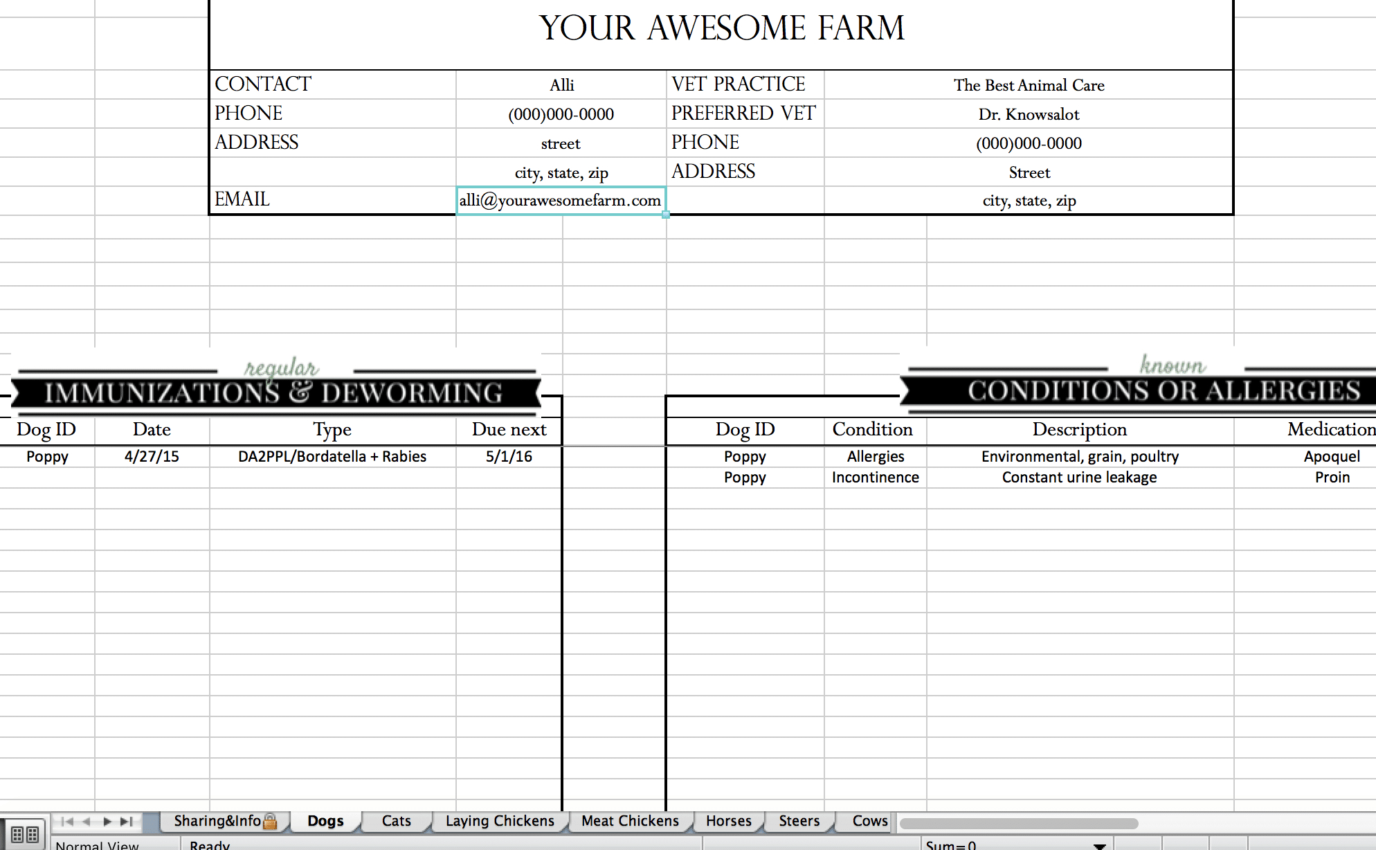 Excel Spreadsheet For Cattle Records For Animal Records Spreadsheet