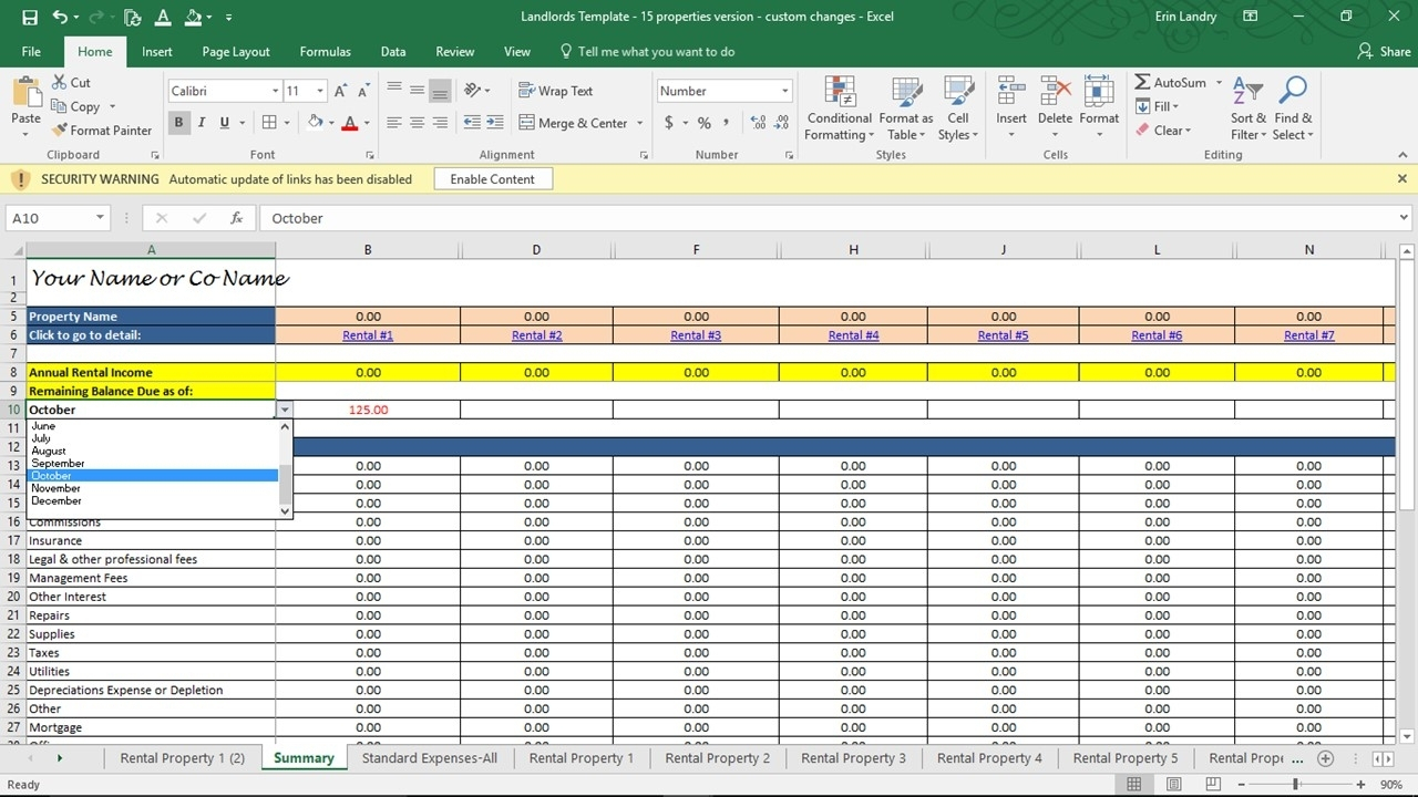 Excel Spreadsheet For Landlords With Landlord Accounting Spreadsheet Investment Property Analysis