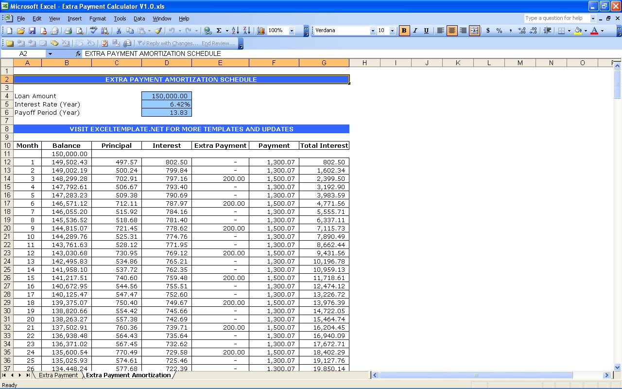 Excel Spreadsheet For Loan Repayments Regarding Excel Spreadsheet Mortgage Payoff Calculator Home Screenshot
