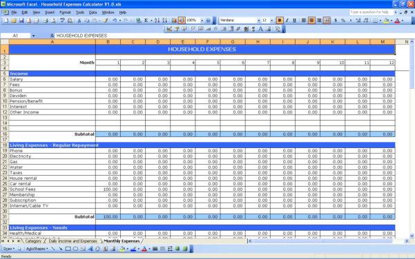 Excel Spreadsheet For Monthly Bills In Monthly Bills Excel Template  Rent.interpretomics.co