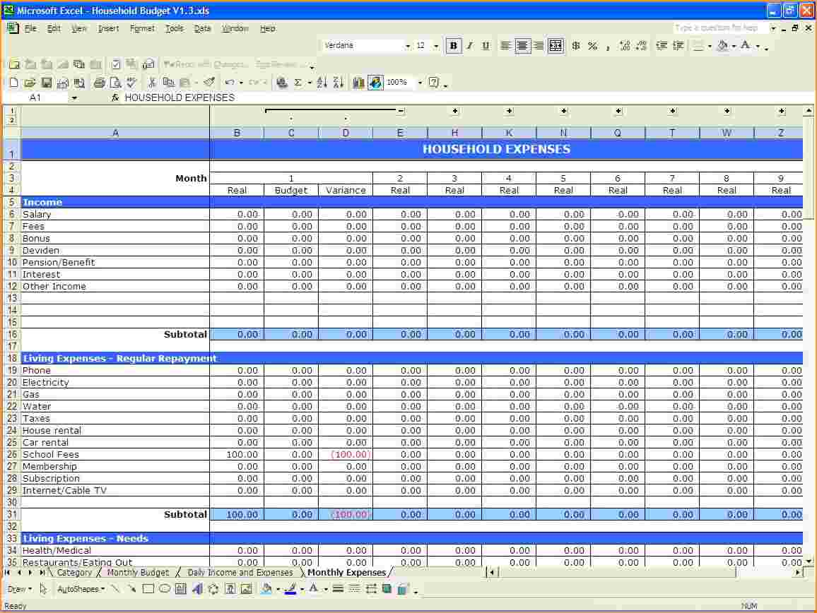 Excel Spreadsheet For Monthly Expenses For Excel Spreadsheet For Monthly Expenses  Homebiz4U2Profit