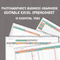 Excel Spreadsheet For Photographers Inside Photographer's Excel Planner Spreadsheets For Business  Etsy