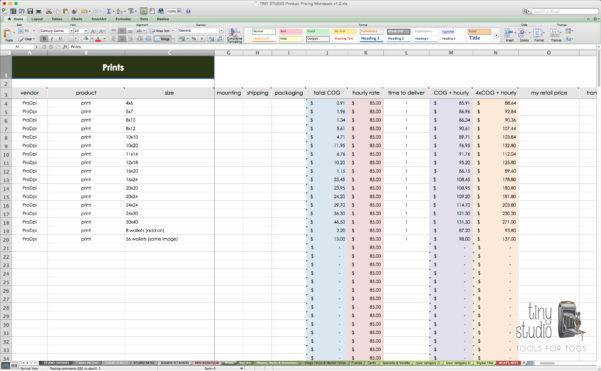 Excel Spreadsheet For Photographers Inside Photography Pricingreadsheet As Excel Expenses For Photographers