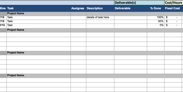 Excel Spreadsheet For Tracking Tasks For Project Management Excel Spreadsheets Timeline Sheet Time Tracking
