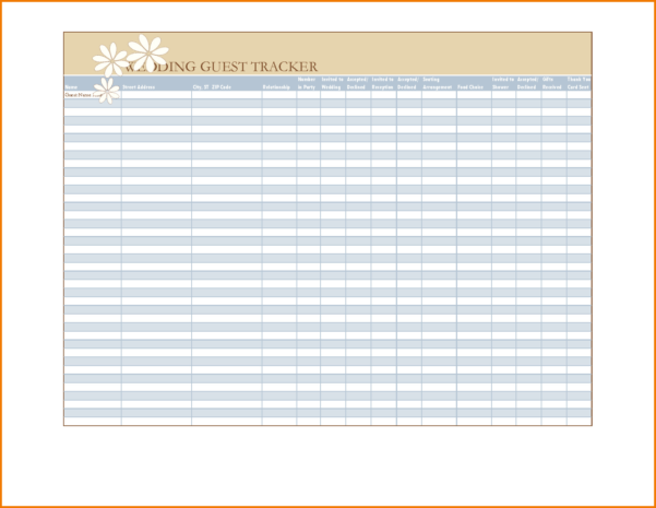 Excel Spreadsheet For Wedding Guest List Regarding Wedding Guest List Template Excel  Spreadsheet Collections