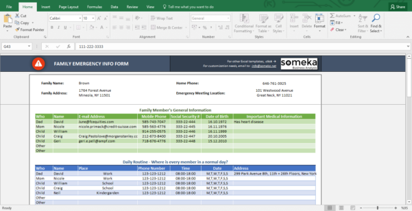 Excel Spreadsheet Form Throughout Emergency Contact Form  Free Excel Spreadsheet Template