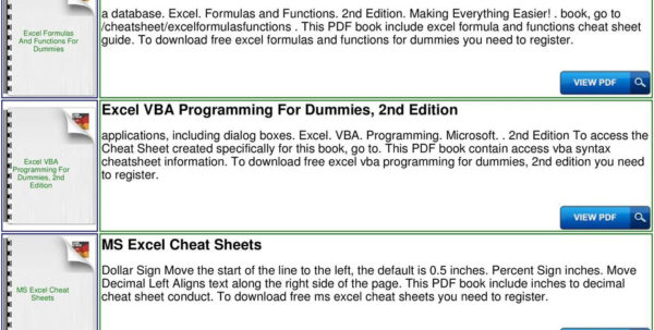 Excel Spreadsheet Formulas For Dummies Inside Excel For Dummies Cheat Sheet  Pdf