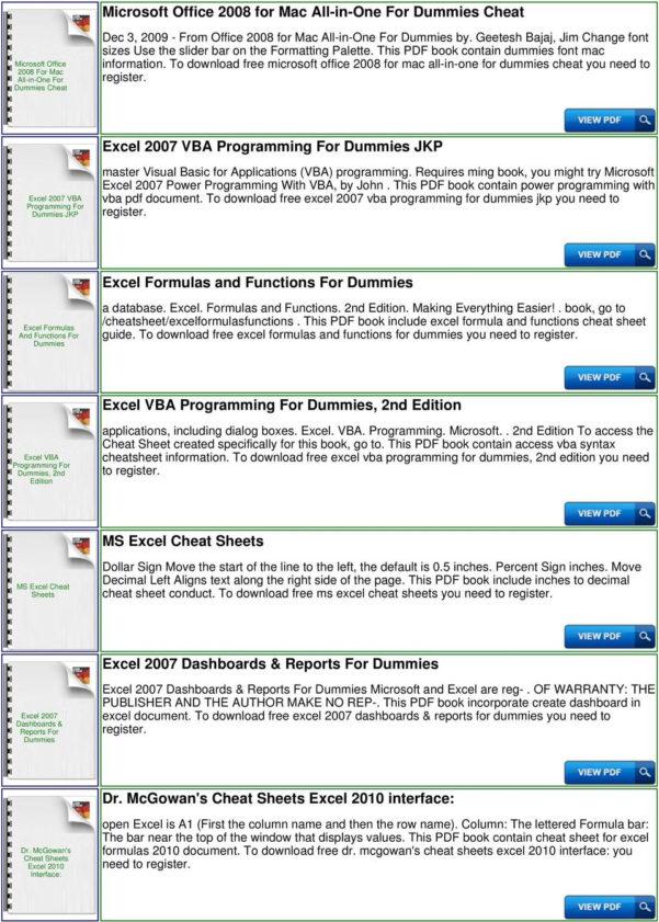 Excel Spreadsheet Formulas For Dummies Inside Excel For Dummies Cheat Sheet  Pdf